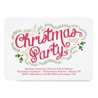 ノスタルジックなクリスマスのパーティの招待状 カード
