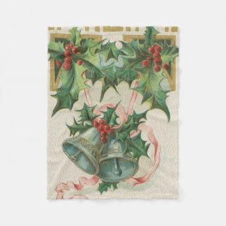 ノスタルジックなクリスマス鐘およびヒイラギ フリースブランケット