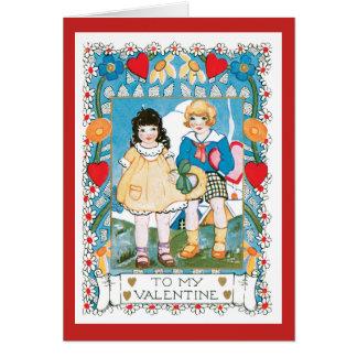 ノスタルジックなバレンタイン2の子供のハートおよび花 カード