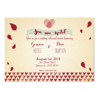 ノスタルジックなロマンス-カスタムな結婚式のリハーサルカード カード