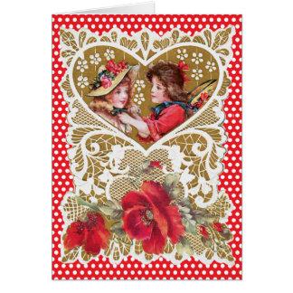ノスタルジックな子供の金ゴールドのハートの赤はバレンタインに点を打ちます カード