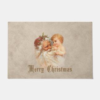 ノスタルジックな父のクリスマスおよび子供 ドアマット