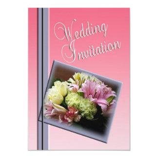 ノスタルジックな結婚式招待状-花の花束 12.7 X 17.8 インビテーションカード