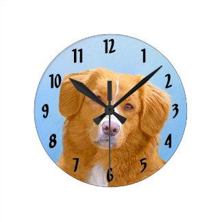 ノバスコシアのアヒルの鳴るレトリーバー犬の絵画 ラウンド壁時計