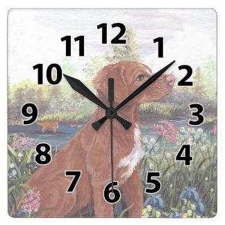 ノバスコシアのアヒルの鳴る子犬の夢みる人の時計 スクエア壁時計