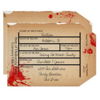 ノベルティの検死官のつま先のラベルハロウィン 12.7 X 17.8 インビテーションカード