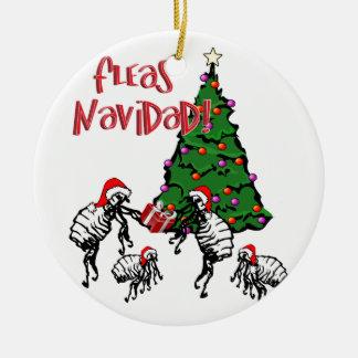 ノミNAVIDAD -クリスマスのノミおよびクリスマスツリー セラミックオーナメント