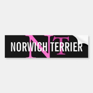 ノリッジテリアの品種モノグラム バンパーステッカー