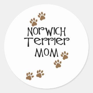 ノリッジテリア犬のお母さんのためのノリッジテリアのお母さん ラウンドシール