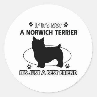 ノリッジテリア犬の品種デザイン ラウンドシール