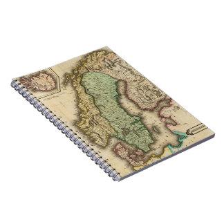 ノルウェーおよびスウェーデン(1831年)のヴィンテージの地図 ノートブック