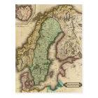 ノルウェーおよびスウェーデン(1831年)のヴィンテージの地図 ポストカード