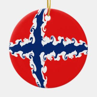 ノルウェーのすごい旗 陶器製丸型オーナメント
