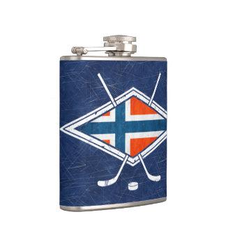 ノルウェーのアイスホッケーの旗のロゴのスキットル フラスク