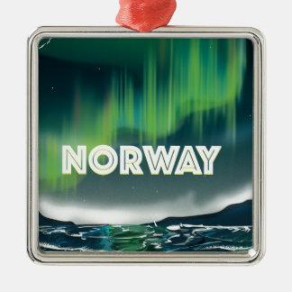 ノルウェーのオーロラのNorthern Lights旅行ポスター メタルオーナメント