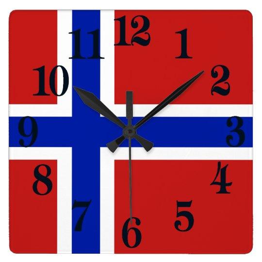 ノルウェーのスカンジナビア人の旗 スクエア壁時計