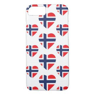 ノルウェーのハートの形の旗 iPhone 8/7ケース