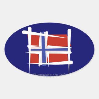 ノルウェーのブラシの旗 楕円形シール