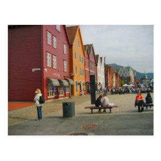 ノルウェーのベルゲンのftraditionalの水辺地帯の建物 ポストカード