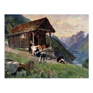 ノルウェーのミルクの女中の小屋 ポストカード