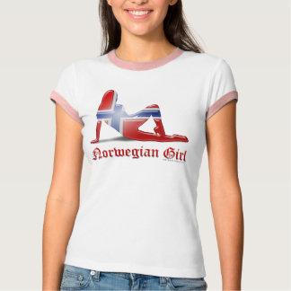 ノルウェーの女の子のシルエットの旗 Tシャツ
