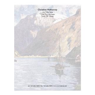 ノルウェーの川および山 レターヘッド