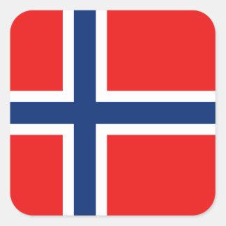 ノルウェーの旗のステッカー スクエアシール