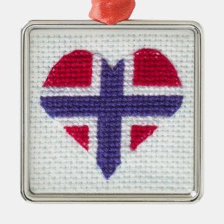 ノルウェーの旗のハートの十字のステッチの北欧人ノルウェーCH メタルオーナメント