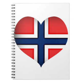 ノルウェーの旗のハート ノートブック