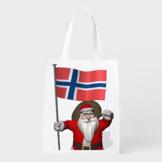 ノルウェーの旗を持つ甘いサンタクロース エコバッグ