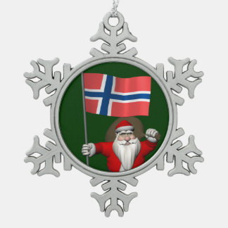 ノルウェーの旗を持つ甘いサンタクロース スノーフレークピューターオーナメント