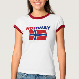 ノルウェーの旗w/inscription tシャツ