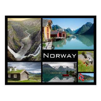 ノルウェーの黒いコラージュの郵便はがきの景色 ポストカード