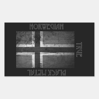 ノルウェーの黒い金属 長方形シール