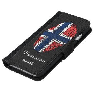 ノルウェーのtouchの指紋パターン iPhone 6/6s ウォレットケース
