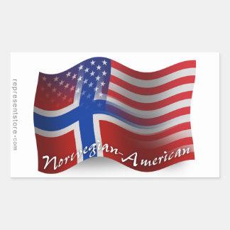 ノルウェーアメリカの振る旗 長方形シール
