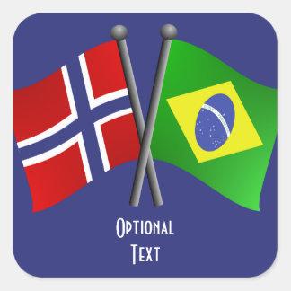 ノルウェーブラジルの友情の旗 スクエアシール