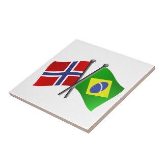 ノルウェーブラジルの友情の旗 タイル