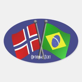 ノルウェーブラジルの友情の旗 楕円形シール