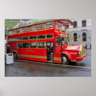 ノルウェー、ベルゲンの観光バス ポスター