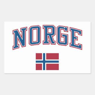 ノルウェー + 旗 長方形シール