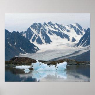 ノルウェー、退く氷河および氷山 ポスター