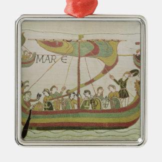 ノルマンディーのウィリアム公爵は海を交差させます シルバーカラー正方形オーナメント