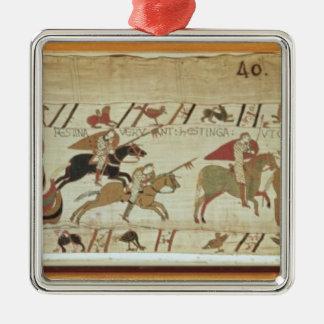 ノルマン人はPevenseyおよび騎士で上陸させます シルバーカラー正方形オーナメント