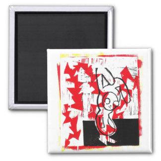 ノルマン人バニーの正方形の磁石(赤い) マグネット