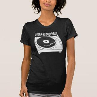 ノンストップMusique -黒いターンテーブルのヴィンテージのデザイン Tシャツ