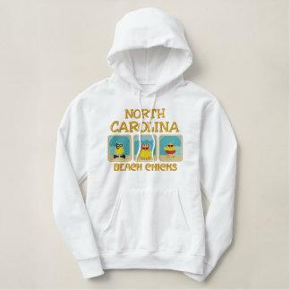 ノースカロライナのビーチのひよこのフード付きスウェットシャツ 刺繍入りパーカ