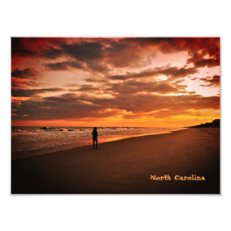 ノースカロライナのビーチの日没 フォトプリント