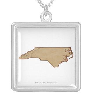 ノースカロライナの立体模型地図 シルバープレートネックレス