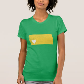 ノースダコタのハートのワイシャツ(yel/grnカスタマイズ可能な) -! tシャツ